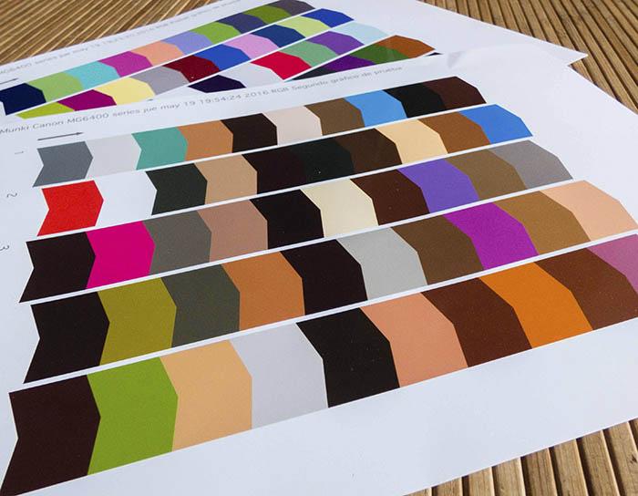 Parches de color usados con mi impresora Canon Pixma fotográfica