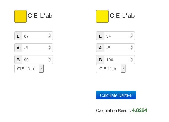Calculo de valores Delta E de forma online.