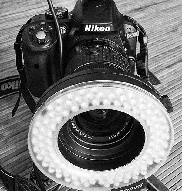 Anillo led de fotografía macro
